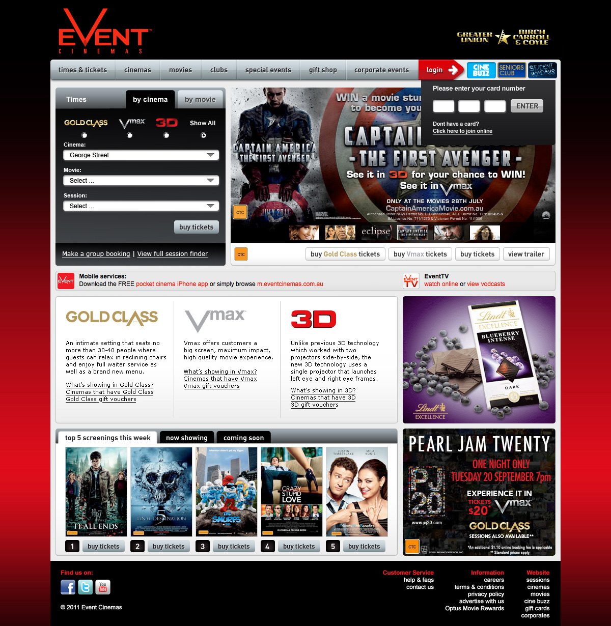 Event Cinemas Homepage 2011