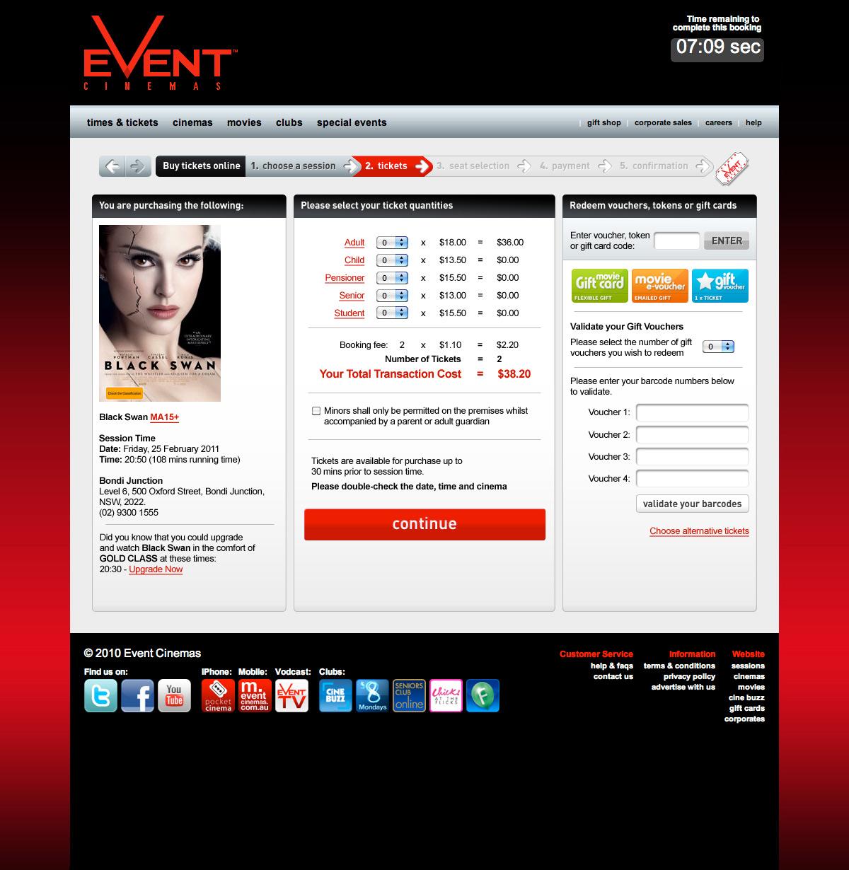 Event Cinemas Tickets 2011