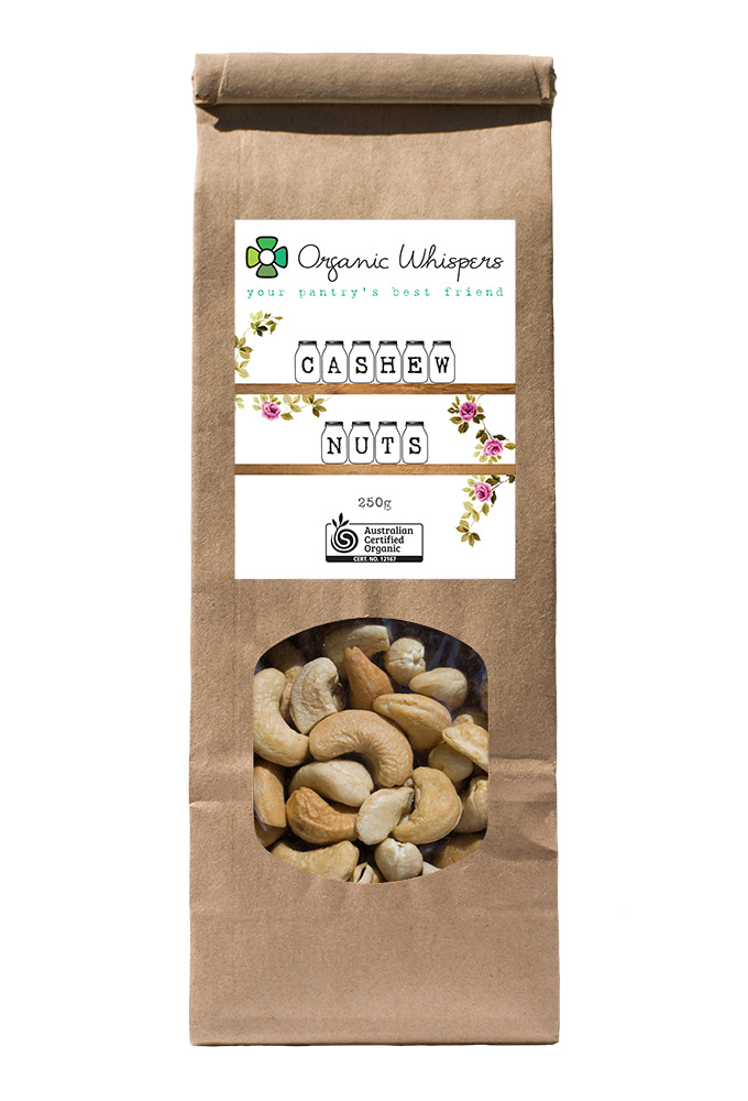 Organic Whispers Cashew Nuts Packaging