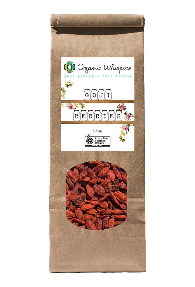 Organic Whispers Goji Berries Packaging