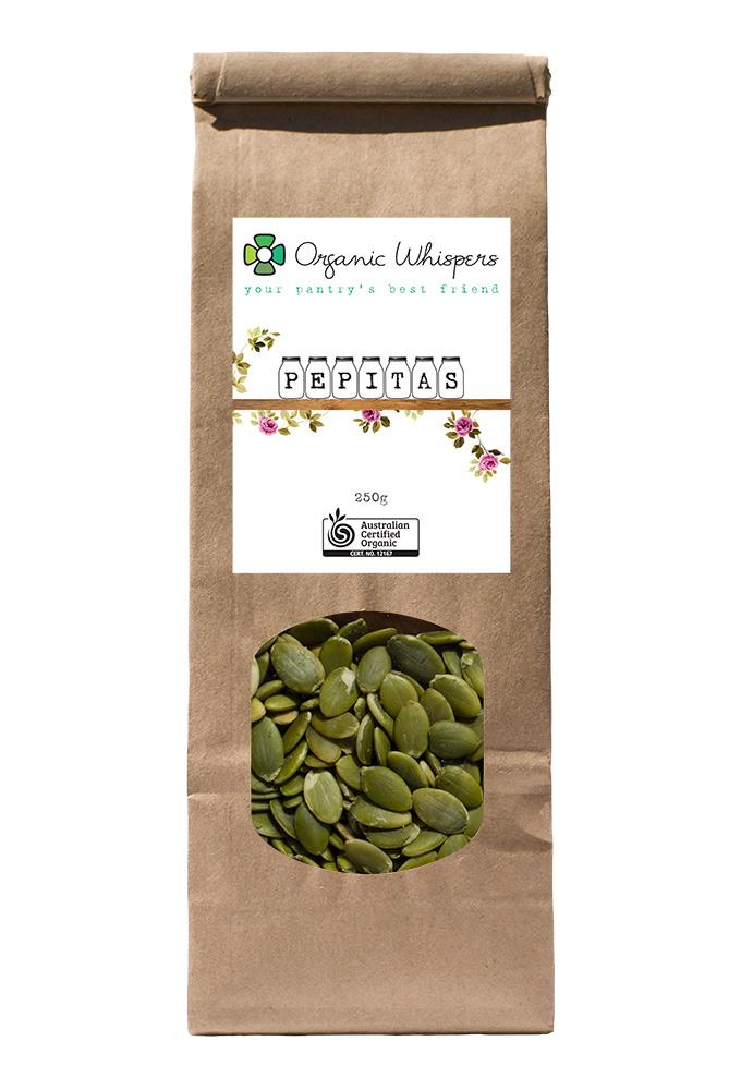 Organic Whispers Pepitas Packaging