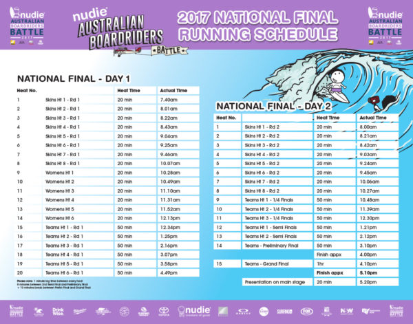 nudie ABB NATIONAL-FINAL RUNNING SCHEDULE